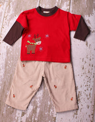 Reindeer Two-fer Top and Cord Pants sz. 6m & 2t