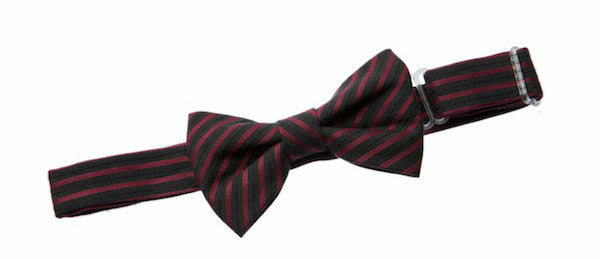 Baby Bow Tie Magnetic Maroon & Black Stripe Check