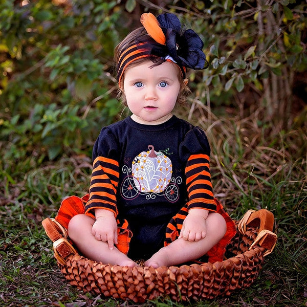 Haute Baby Pumpkin Patch Princess Romper (sz 0/3m-12m) FALL 2016 PREORDER