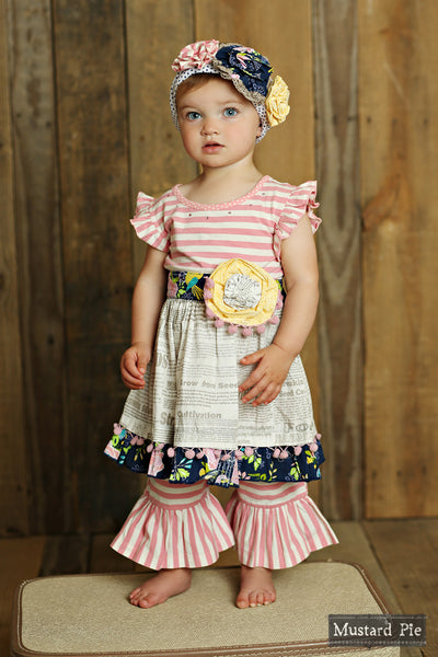 Mustard Pie Secret Garden Pink Olivia Dress Set (sz 3m-18m)