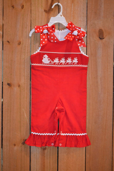 Three Sisters Clothes Santa's Sleigh Smocked Romper w/Ribbons | FALL PREORDER 2018