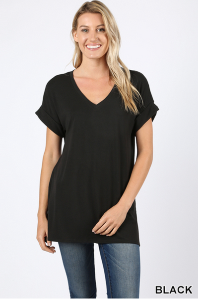 Rolled Sleeve V-Neck oversized tee |PREORDER|