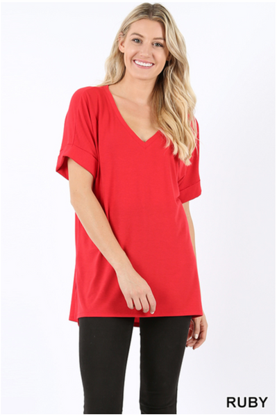 Premium Rolled Sleeve Side-Slit Tunic - Ruby |PREORDER|