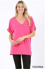 Premium Rolled Sleeve Side-Slit Tunic - Fuchsia |PREORDER|
