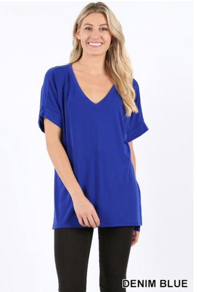 b3ae2db8b64 Preorder. Premium Rolled Sleeve Side-Slit Tunic - Denim Blue (PLUS SIZE  ONLY)