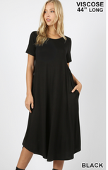 Black Short Sleeve Roundneck Dress with Pockets |PREORDER|