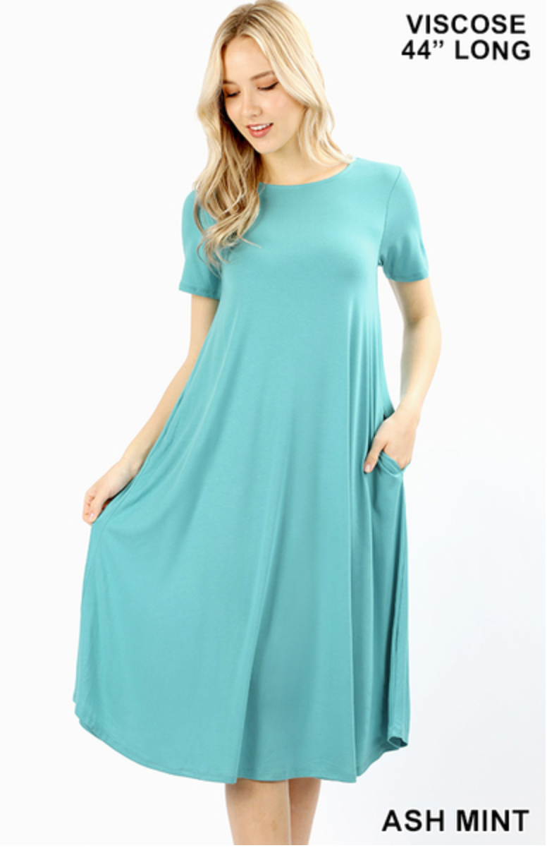 Ash Mint Short Sleeve Roundneck Dress with Pockets |PREORDER|