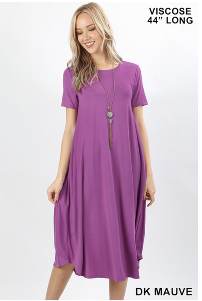 Dark Mauve Short Sleeve Roundneck Dress with Pockets |PREORDER|