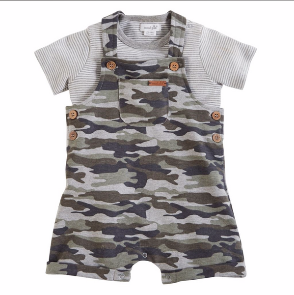 Mud Pie Camo Overalls and Shirt Set |PREORDER|