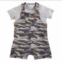 Mud Pie Camo Overalls and Shirt Set