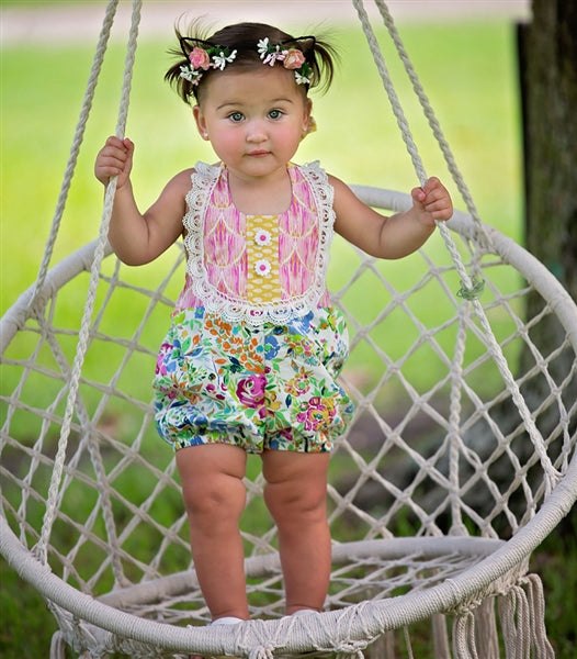 Floral Fantasy Infant & Toddler Girls Sunsuit | PREORDER