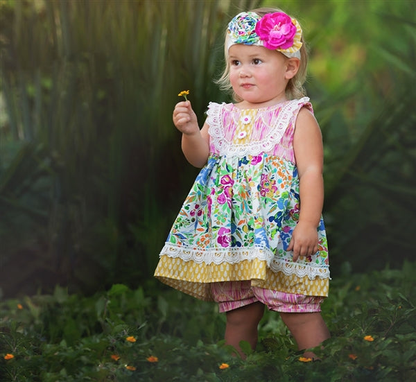 Floral Fantasy Little Girls Short Set