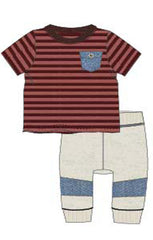 Bonnie Jean Boys Striped Chambray Jogger Set