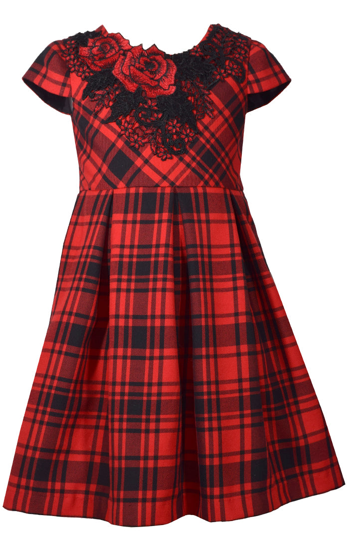 Bonnie Jean Tween Special Occasion Dress - Red Plaid
