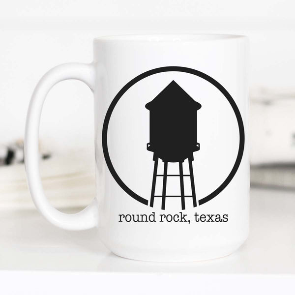 15 oz All White Round Rock Hometown Coffee Mug