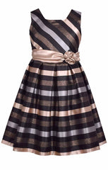 Bonnie Jean Tween Special Occasion Dress - Rose Gold Striped