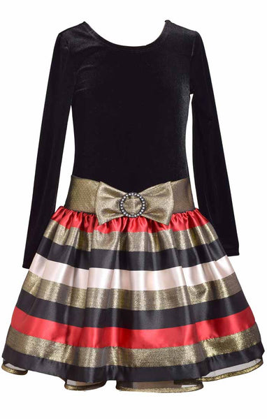 Bonnie Jean Tween Special Occasion Dress - Velvet Striped