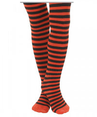 Halloween Orange/Black Striped Tights (sz 2-10)