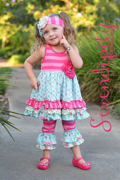 Serendipity Southern Belle Ruffle Trim Dress & Ruffle Legging Set (sz 6m-6)