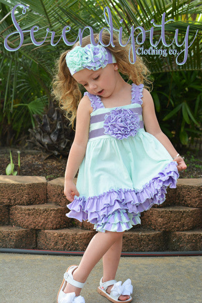Serendipity Secret Garden Mint & Lavender Ruffle Tunic & Ruffle Shorties Set (sz 4-6)