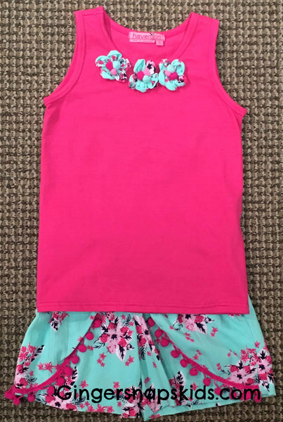 Haven Girl Hibiscus Butterfly Flower Tank Top and Shorts Set (sz 6 last one)