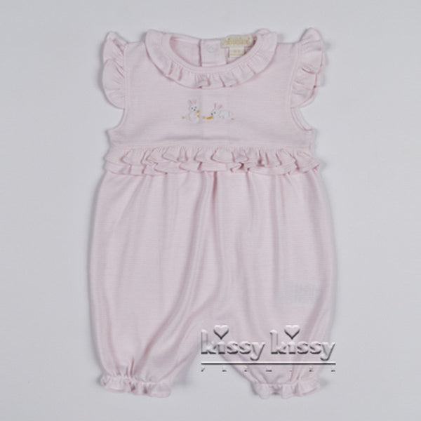 Kissy Kissy Girls Scattered Cottontails Stripe Short Playsuit (sz 0/3m-6/9m)