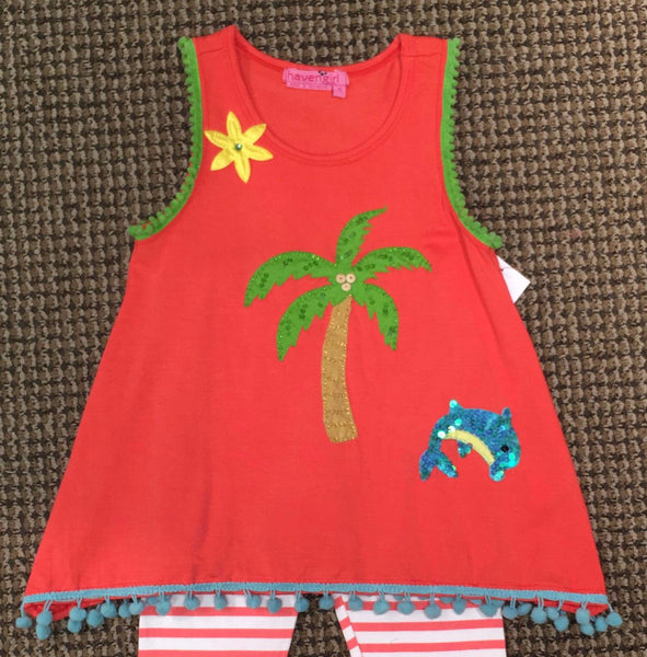 Haven Girl Beach Days Coral Palm Tree Izzy Top and Leggings Set (sz 2-6X) | SPRING 2017 PREORDER