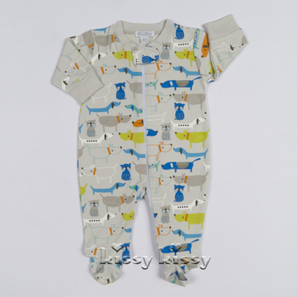 Kissy Kissy Boys Dog Gone Cute Print Footie w/Zipper (sz NB-6/9m) | SPRING 2017 PREORDER