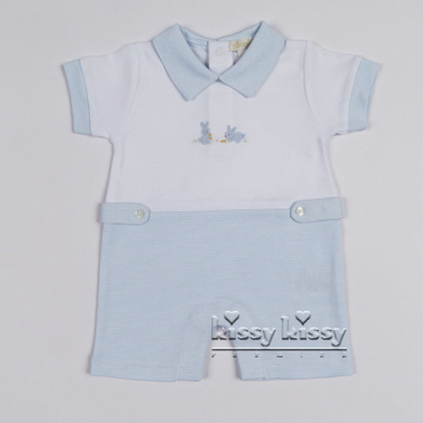 Kissy Kissy Boys Scattered Cottontails Stripe Short Playsuit w/Collar (sz 0/3m-6/9m) | SPRING 2017 PREORDER
