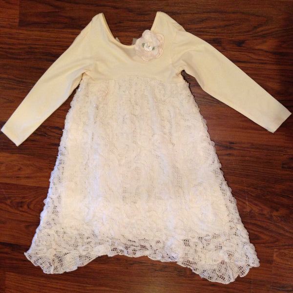 Cach Cach Heirloom Rose Cream Long Sleeve Dress (sz 6, 6x last ones)
