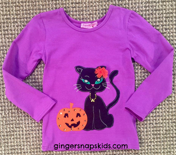 Haven Girl Halloween Pumpkin Cat Tee (sz 2-8) | FALL 2017 PREORDER