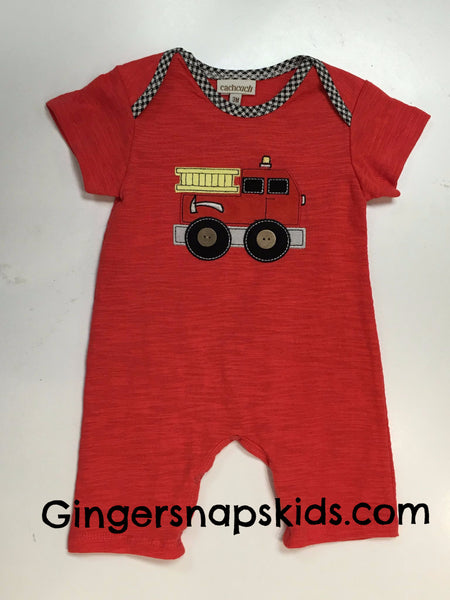 Cach Cach Good Luck Fire Truck Romper (sz 3m-9m) | SPRING 2017 PREORDER