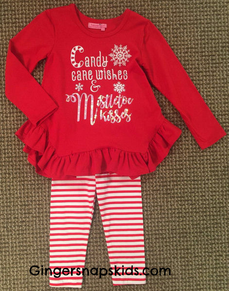 Haven Girl Santa's Coming to Town Candy Cane Tunic & Leggings Set (sz 2-10) |