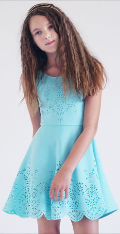 Hannah Banana Blue Laser Cut Dress (Last one sz 7)