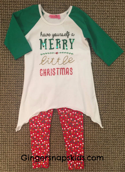 Haven Girl Merry Little Christmas Tunic & Leggings Set (sz 4-14) |