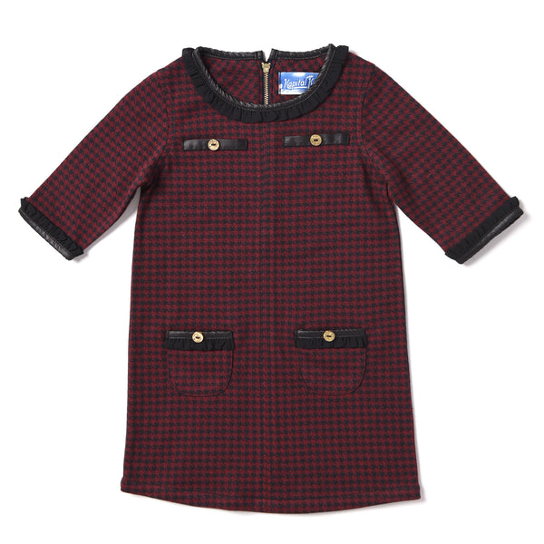 Kapital K Crimson Houndstooth Dress (sz 4-6)