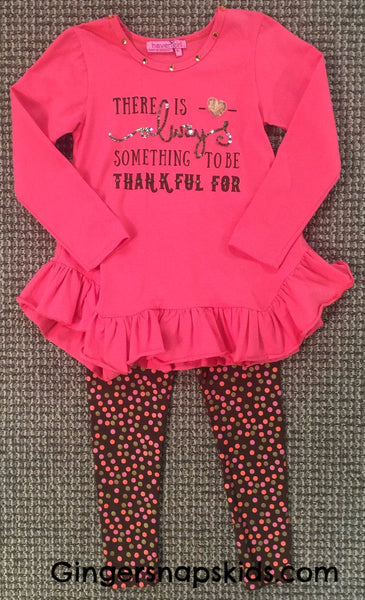 Haven Girl Thanksgiving Always Something to be Thankful For Skylar Tunic & Leggings Set (sz 2-10)