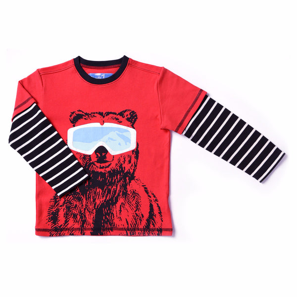 Kapital K Berry n' Bright Red Bear with Goggles Tee (sz 2-6) | FALL 2017 PREORDER