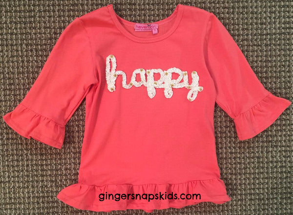 Haven Girl Happy Sequin Ruffle Tee (sz 4-6X) | FALL 2017 PREORDER