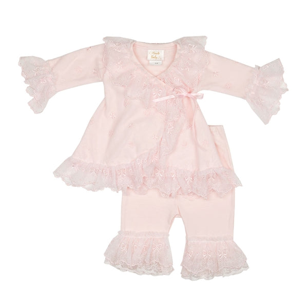 Haute Baby Girls Bow Love Criss Cross Set (sz 0/3m-24m) | SPRING 2018 PREORDER