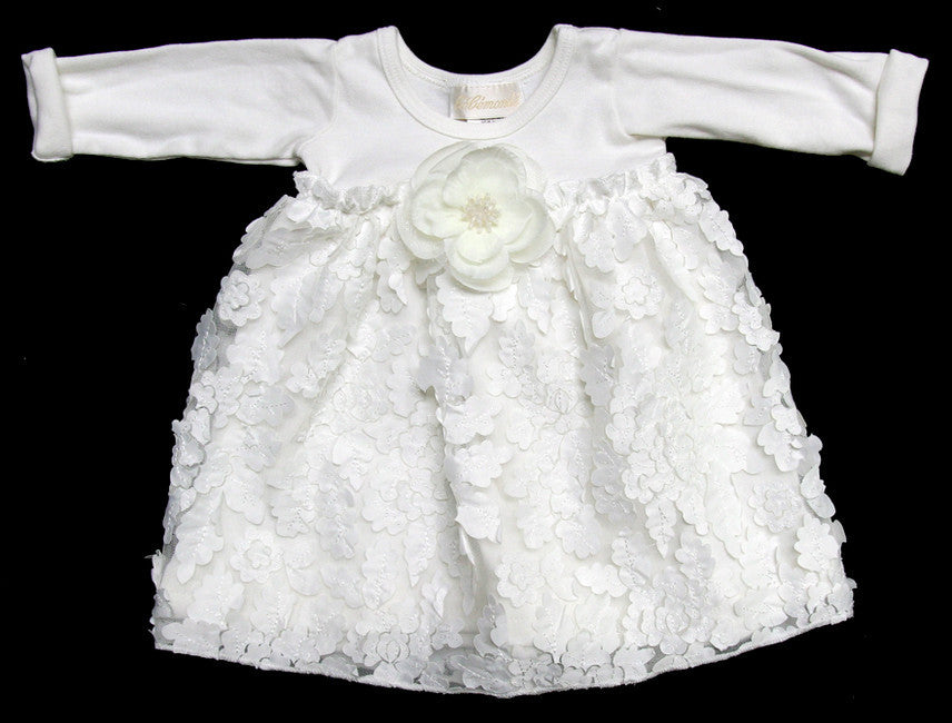 Bebemonde Girls White Floral Flutter Dress (sz 3m, 6m)
