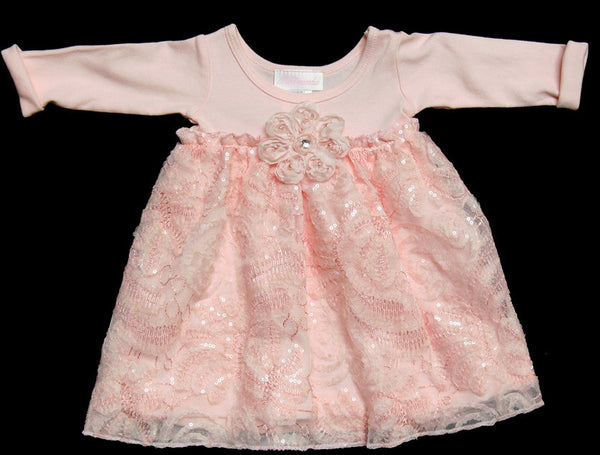 Bebemonde Girls Pink Ribbons Sequins Dress (sz 3m, 6m)