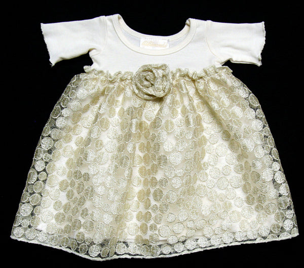 Bebemonde Girls Precious Metals Cream/Gold Dress (sz 3m, 6m)