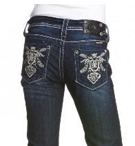 Miss Me Girls Abstract Royal Emblem Boot Cut Denim Jeans sz. 7-14