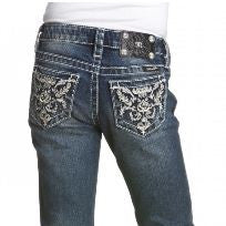 Miss Me Girls Abstract Leather Flower Boot Cut Denim Jeans (sz 8 last one)