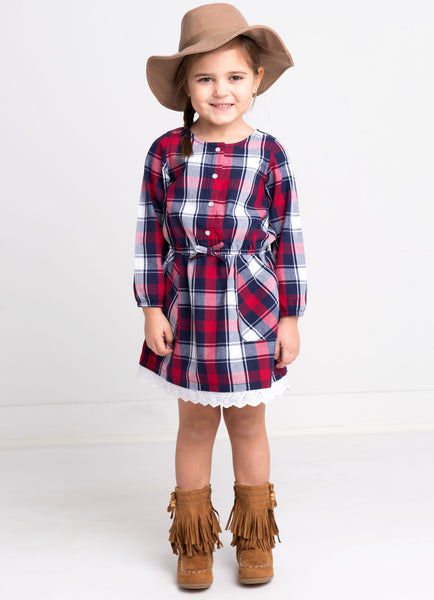Kapital K Red Flannel Plaid Dress (sz 2-6) | FALL 2017 PREORDER