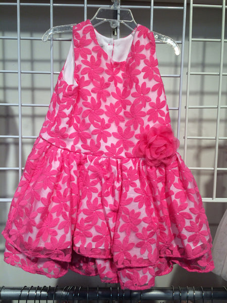 Pippa & Julie Fuschia 2 Tiered Emboridered Organza Dress (6 & 6X last ones)