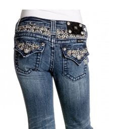 Miss Me Girls Fancy Bling Petite Fleur Denim Jeans (sz. 7-10)