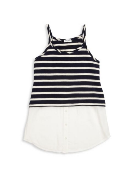 Splendid Navy/White Split Tank (sz 7/8-14)