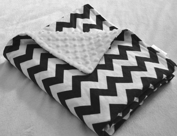 Chevron Black & White Minky Dot  Blanket